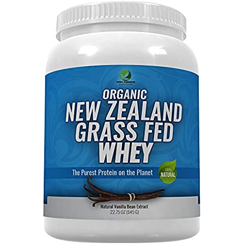 Organic New Zealand Grass Fed Whey Protein (20g) PLUS 17 Essential Vitamins, 8 Bill. Probiotics, and Digestive Enzymes by Pure Premium