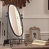 Mangeoo En fer forgé de style créatif européen, miroir, bureau, table elliptique simple miroir Princesse rétro super HD, grand dressing,miroir marron foncé...