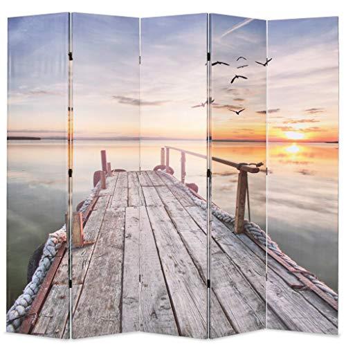 vidaXL Raumteiler klappbar 200x170cm See mit Steg Paravent Spanische Wand