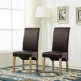 MCC® Esszimmerstuhl, 2er Set aus Kunstleder, Deluxe, mit hoher Rückenlehne für Private und gewerbliche Nutzung, BRAUN
