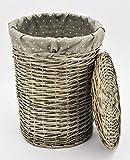 KUHEIGA Korb aus Weide, rund Höhe: 41cm Ø: 31cm Korb Weidenkorb mit Deckel