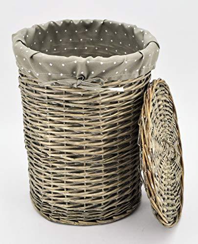 Wäschekorb aus Weide, Rund Höhe: 56cm Ø: 44cm Korb Weidenkorb mit Deckel