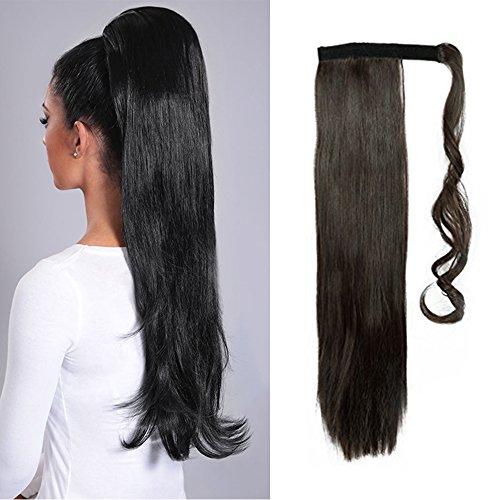Extension coda capelli clip in coda di cavallo hair sintetici lisci finti 58cm 23