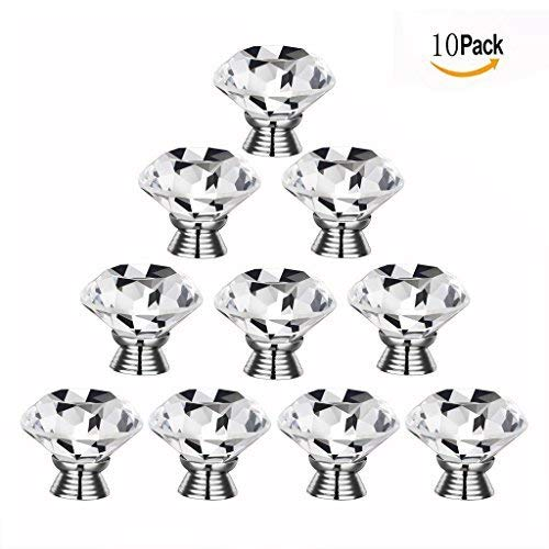 Gearmax® 30mm Diamond Kristall Glas Knopf Knob Pull Türgriff Küche Schrank Schublade Möbel-Handgriff 10 Stück/Set (Transparent) (Für Glas-knöpfe)