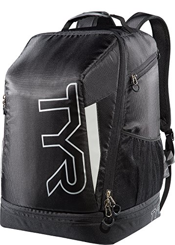 TYR Apex Zaino Triathlon transizione, unisex, Apex Transition Backpack, nero/argento, N/A