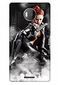 PrintHaat Designer Back Case Cover for Microsoft Lumia 950 XL :: Microsoft Lumia 950 XL Dual SIM (beautiful girl holding a gun in boots :: golden hair girl posing with a gun :: in golden, black and white)