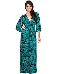 KOH KOH® Damen Elegantes Langes Cocktail Kleid mit Floral Kimono Ärmeln Maxi Abendkleid