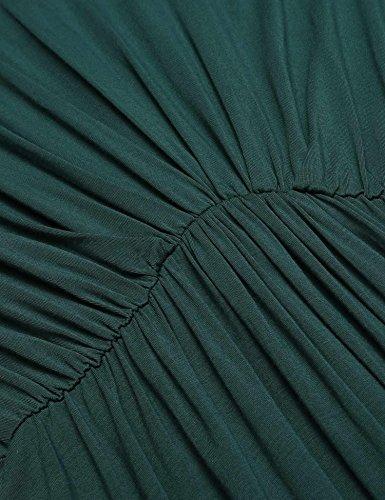 Damen Wickelkleid Chiffonkleid Abendkleid Cocktailkleid Festlich Langarm Geripptes Kleid Jerseykleid Knielang Winterkleid einfarbig Strandkleid Partykleid mit V-Ausschnitt A Dunkelgrün
