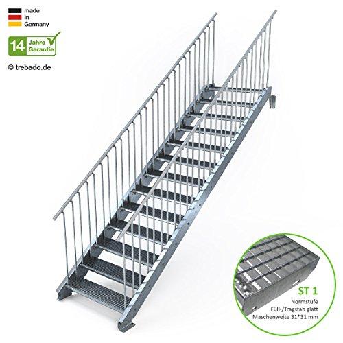 Außentreppe 13 Stufen 100 cm Laufbreite - beidseitiges Geländer - Anstellhöhe variabel von 216 cm bis 260 cm - Gitterroststufe ST1 - feuerverzinkte Stahltreppe mit 1000 mm Stufenlänge als montagefertiger Bausatz