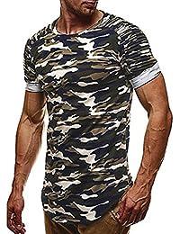 Rawdah Camiseta de Manga Larga con Cuello Redondo y Estampado de Camuflaje Casual de Los Hombres