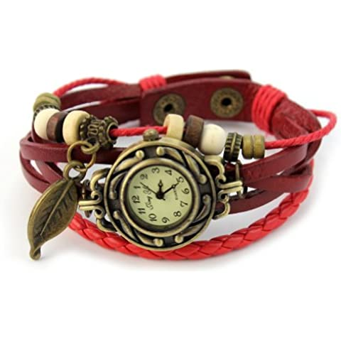 1 x Nuevo Reloj de Movimiento Cuarzo Cuero Trenzado Pulsera Regalo para Chica