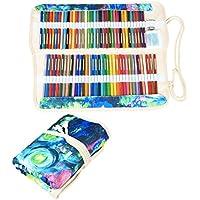 Damero Wrap Tele per 100 matite colorate, cassa del supporto di matita rotolo multiuso Pouch (Tela Cassetti)