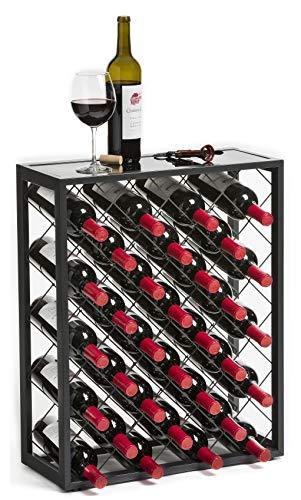 32 Estante Para Vino con Tapa de Cristal, Estaño