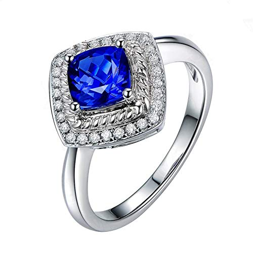 Originaltree donne lusso quadrato zircone anelli matrimonio fidanzamento dito gioielli decor exaggerated square face anello lusso diamond-studded blu goccia di cristallo zircone color, blue, us 10