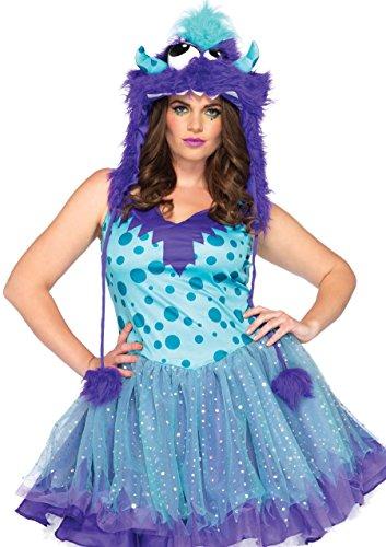 Leg Übergröße Avenue Kostüm - Leg Avenue 83959X - Kostüm Set Polka Dotty, Übergröße 44, Aqua/lila