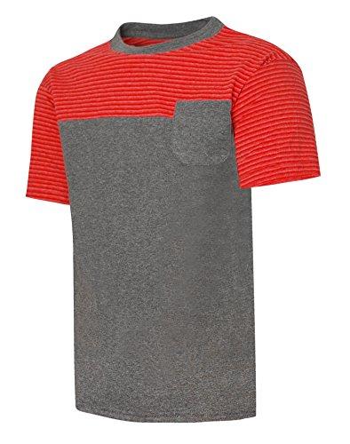 Hanes Boy's X-Temp Colorblocked SS Pocket Tee M Red (Hanes-pocket-tees)