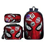 ZHENG 3D Impression Expédition Spiderman Heroes Enfant Cartable Costume Trois pièces Imperméable Sac à Dos Panier Repas...