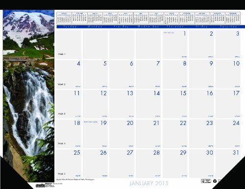 House of Doolittle Earthscapes cascate of The World-Scrivania con calendario 2015 12 mesi, da gennaio a dicembre 2015, 55,88 43,18 cm x 17 x (22