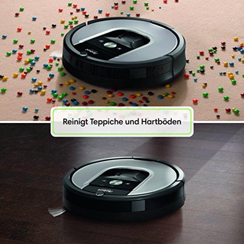 IRobot Roomba 960 Saugroboter (hohe Reinigungsleistung, keine Verhedderungen und mit Dirt Detect, reinigt alle Hartböden und Teppiche, ideal bei Tierhaaren, WLAN-fähig) silber - 6