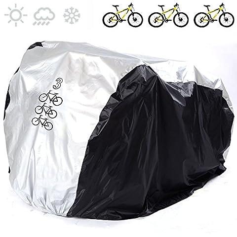 Universal Bike couvertures 190T Nylon étanche Portable léger pour extérieur d'intérieur de stockage 3Vélos Fucnen Heavy Duty Vélo Coque anti poussière pluie Protection UV pour VTT Vélo de