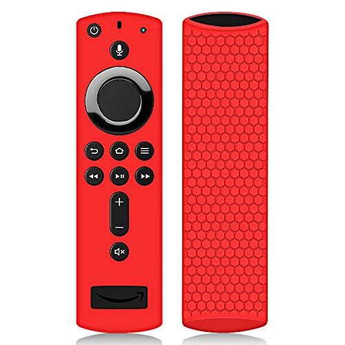 Hydream Housse Coque en Silicone pour Fire TV Stick Télécommande avec Vocale Alexa, Anti-Slip Antichoc de Remote Case Étui de Protection pour Amazon Fire TV Stick 4K / Fire TV Cube (Rouge)