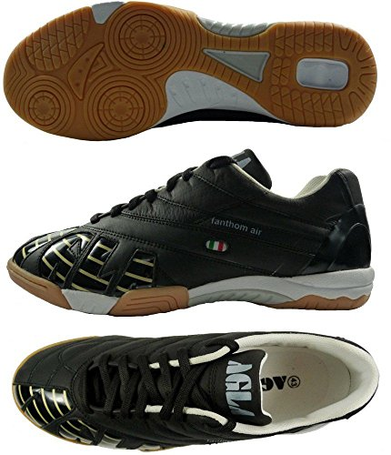 AGLA PROFESSIONAL FANTHOM CONDOR INDOOR AIR Chaussures de football en cuir avec anti-choc Noir - noir