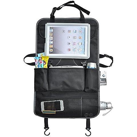 Del asiento trasero del coche Organizador universal Tidy tableta iPad Titular del teléfono móvil del bolso del almacenaje del organizador del recorrido del asiento trasero del protector de cubiertas del asiento del