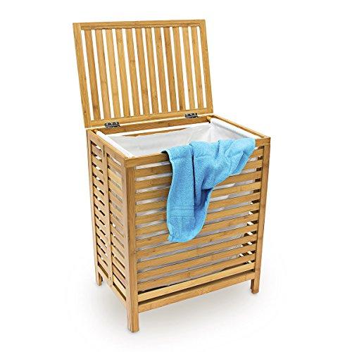 Relaxdays Wäschetruhe, Bambus, Natur
