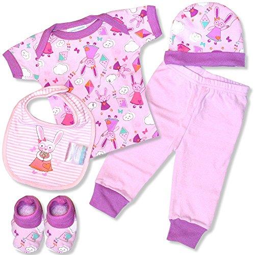 5 teiliges Babyset Honey Bunny Hemdchen Mütze Schuhe Motiv Häschen Rosa Geschenkset Baby 0-6 Monate in Geschenkpackung Hase Mädchen