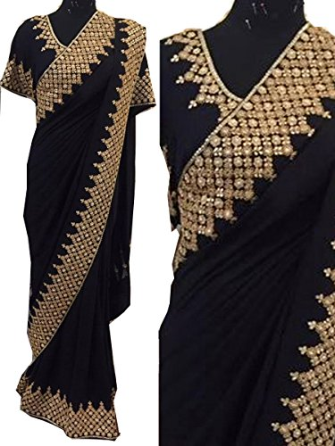 I-Brand Women's Georgette Saree (Isunsa680-Ib_Black)