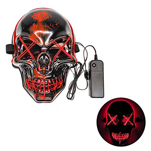 n Scary Maske LED Maske Ball Party Maske Leuchtmaske EL Draht Leuchtkostüm Fakes Maskerade für Halloween Festival Party ()