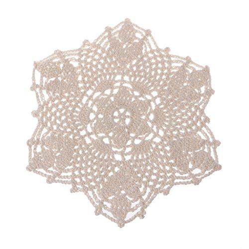 Xuniu Baumwolle Tasse Becher Matte, Hand Gehäkelte Spitzendeckungen Blume Form Untersetzer Für Home Küche Dekoration (Beige)