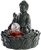 infactory Beleuchteter Zimmerbrunnen Lotus-Buddha mit Glaskugel