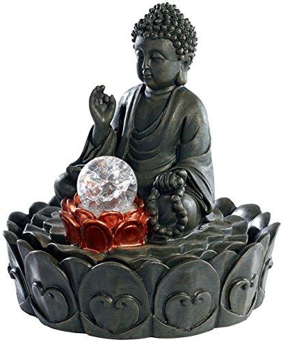infactory Zierbrunnen: Beleuchteter Zimmerbrunnen Lotus-Buddha mit Glaskugel (LED-Zimmerbrunnen)