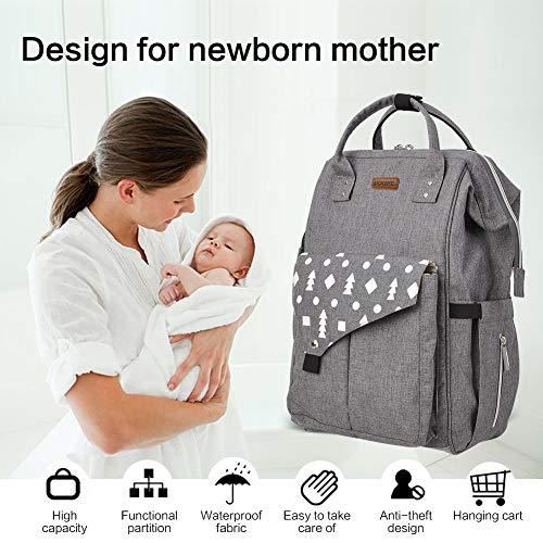 Imagen para Mochilas de Pañales, Mult-Funcional Bolso del Bebé, Impermeable Bolsa de Pañales con Aislado Bolsillos, Para Bebés y Mamá,Gris