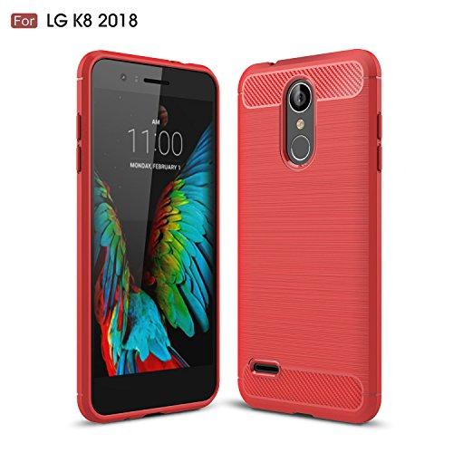 Foto de KaiTelin Funda LG K8 (2018) - Moda Delgado TPU Cáscara Prueba de Choques Suave Cubierta Posterior Carcasa y Fibra de Carbono Diseño Funda para LG K8 (2018) - Rojo