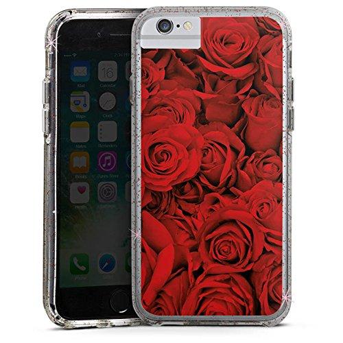 Apple iPhone 6 Bumper Hülle Bumper Case Glitzer Hülle Rose Roses Rosen Bumper Case Glitzer rose gold