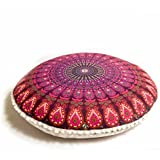 Funda decorativa de cojín de meditación y yoga al estilo Bohemio y con diseño de mándalas - La funda de la almohada redonda de meditación (Zafu) de 75 cm / De color turquesa de algodón 100% orgánico pintado a mano por Mandala Life ART (Morada)