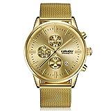 Uhren Unisex Armbanduhr Damen Herren Klassisch Uhr Leder Wristwatch Stainless Steel Dial Quartz Wrist Watch mit Uhrenarmband,ABsoar