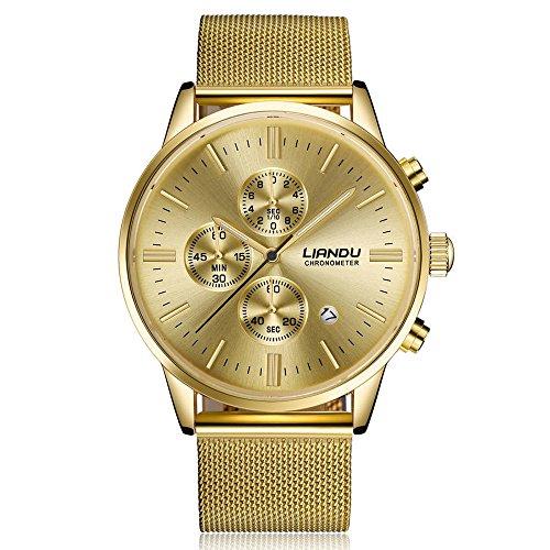 Huacat Herrenuhr Edelstahl Metallgitterband Zeigt Datum Armbanduhr FüR Herren Damen Slim Uhr Mit Mesh Metall Armband