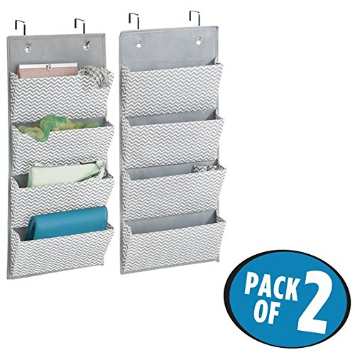 Price comparison product image mDesign Hanging Fabric Wardrobe Storage Organiser for Clutch Handbags, Handbags, Accessories - Pack of 2, 4 Pockets Each, Grey/Cream