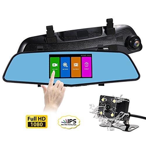 SENDOW Spiegel Rückfahrkamera Dashboard Kamera Full HD Auto Kamera 4,5 Zoll IPS Touchscreen 6G Glas Dual-Objektiv Spiegel Dashcam mit G-Sensor, Parkmodus, Daueraufnahme(SD-Karte Nicht Enthalten)