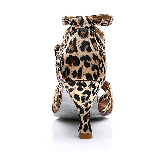 Chaussons de danse latine en satin HROYL pour l'femme F7-217 7CM Leopardo