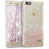 kwmobile Funda para G Play Mini Huawei - Case de cristal para móvil en TPU silicona - Cover trasero de cristal Diseño sol indio rosa claro blanco transparente