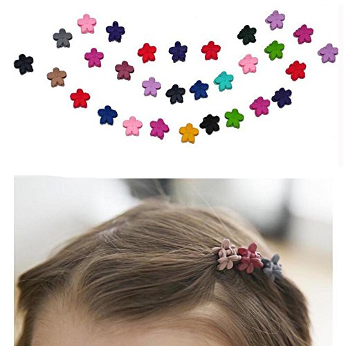 Mini Haarclips Baby Blumen Mini haarklammer Mix Farben Blumen Haar Greifer Baby Hairpin Kinder Haar Zubehör (30 Stücke) (Haare Haarspangen Für Kleine Mädchen)