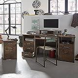 Lomadox Schreibtisch Set mit Rollcontainer Computerschreibtisch PC Schreibtisch Jugendzimmer Vintage-Look inkl. Tastatureinzug, Ablageboden u. Aufsatzregal