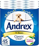 Andrex Classic Clean Toilet Roll Tissue Paper - Pack of 45 Rolls