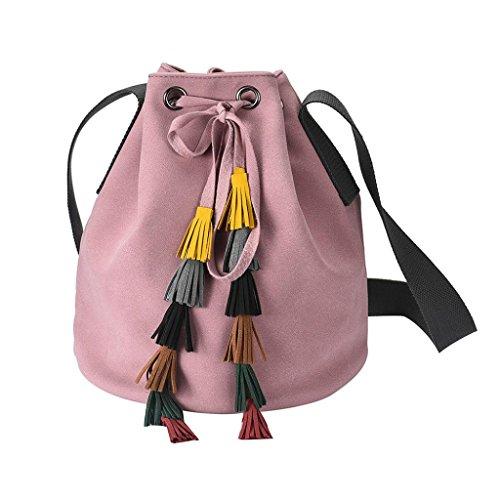 Bolsos Para mujer, RETUROM Moda mujer cuero borla bolsa de mensajero bolsa (Rosa)