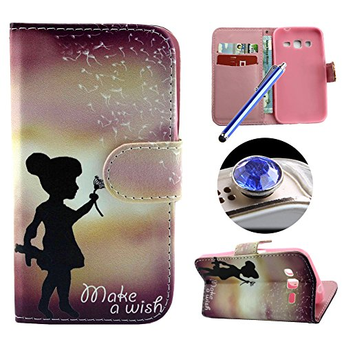 Price comparison product image Etche Stand Flip Case for Samsung Galaxy J5,Leather Wallet Case for Samsung Galaxy J5,Cute Little Girl Sunset Premium Pu Leather Magnetic Wallet Case with Card Holder for Samsung Galaxy J5 with Blue Stylus Pen and Bling Glitter Diamond Dust Plug Colors Random-Little Girl