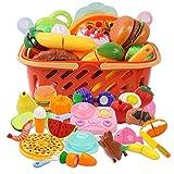 DigHeath 34 Pezzi Taglio Frutta e Finti Alimenti, Tagliare i Giocattoli, Giocattoli di Plastica per Tagliare Frutta, Gioco di Ruolo Piccolo Cuoco per Bambini, Giocattolo Educativo Prima Infanzia